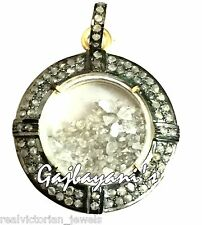 FASCINATING ROSE CUT DIAMOND STUDDED AND FILLED SHAKER PENDANT SILVER NECKLACE