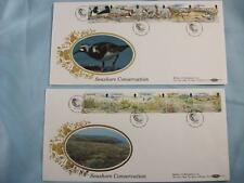 2 Benham Guernsey Silk Stamp Covers 'Seashore Conservation' 1991 Limited Edition