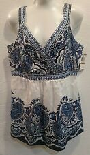 New Style & Co Blue White Paisley Silk Blend Sleeveless Blouse Shirt Sz 12  zip