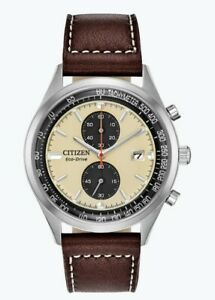 Citizen Eco-Drive Men's Chandler Chronograph Beige Dial 43mm Watch CA7020-07A