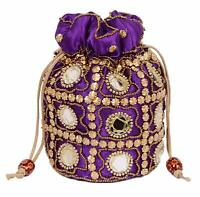 Red Traditional Satin Potli Bag with Round Mirror for Women /& Girls