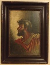 Antique Portrait Man Painting Listed Signed F Berlingieri Italy Roman? Soldier