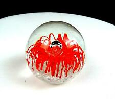 "STUDIO ART GLASS ORANGE FLOWER CONTROLLED BUBBLE ROUND 2 3/4"" PAPERWEIGHT"