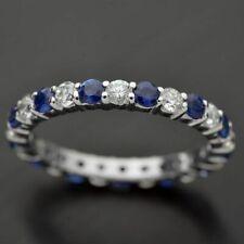 Elegant Women 925 Silver Rings Jewelry Wedding Ring Bule Sapphire Ring Size 10