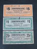 DEPRESSION ERA SCRIPT 1930'S CLARINDA IOWA $5 $1 50 CENTS CERTIFICATES 🌈⭐🌈