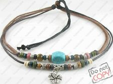 Ethnic Jewellery Tribal Hemp Beads Beaded Necklace Choker Mens Womens Turquoise