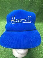 Vintage Hawaii Blue Corduroy W Yellow Script Trucker SnapBack Hat Cap Surf Vaca