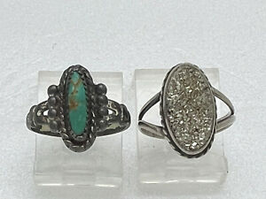 2 Navajo Sterling Silver Turquoise & Fools Gold Rings Native American Bell