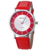 Deluxe Geneva Women Watch Retro Dial Leather Analog Quartz Wrist Watch Red