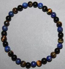 """Bracelet Lapis lazuli, Obsidienne oeil céleste et Oeil de faucon 6 mm """"Médium"""""""