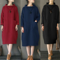 UK Womens Long Sleeve Turtleneck Casual Baggy Jumper Dress Sweatshirt Dresses