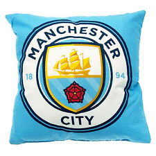 MANCHESTER CITY FC SQUARE CREST CUSHION PILLOW BEDROOM SOFA CHAIR NEW GIFT XMAS