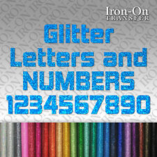 Glitter Letters & Numbers Iron on HotFix FABRIC T-SHIRT TRANSFER SEQUIN Stickers