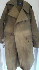 WW2 Long Over Coat Heavy Army Style Jacket L DINEN LTD 1945 Rare Green Belt