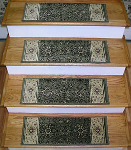 "Rug Depot Set of 13 Traditional Non Slip Carpet Stair Treads 26"" x 9"" Green Poly"
