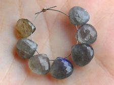 Natural Labradorite Faceted Heart Briolette Semi Precious Gemstone Beads 005