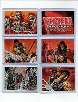 VAMIRELLA BLOOD LUST SET OF SIX JOE JUSKO SIGNED CARDS.