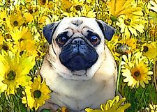 """""""Sunflower Pug"""" T-shirt -All Sizes *High Quality* colorful hippie flowers"""