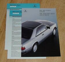 Mercedes 230CE 300CE W124 Coupe Brochure 1987 - 230 300 CE
