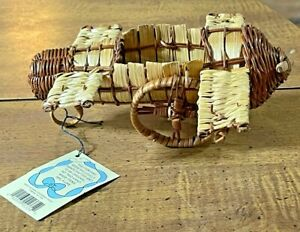 """Basket Brand New Small Airplane Wicker Basket 8"""" on the wingspan, and 7"""" Long"""