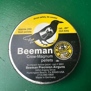 Beeman Crow-Magnum in .20 cal 200 count tin NOS air rifle pellets