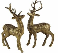 NEW~PAIR OF CHAMPAGNE GLITTER REINDEER FIGURINES - FOR MANTLE / TABLE-25cm
