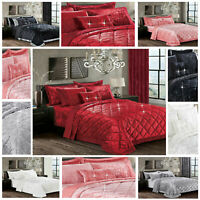 Luxury Crushed Velvet Quilted Bedspread Throw 3 Piece Bedding Set & Pillow Shams