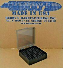 38 / 357 Berry Ammo Boxes 100 Rnd Storage & Reloading (Smoke / Black) Brand New