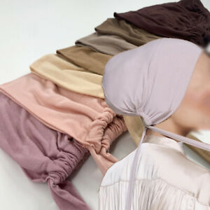 Muslim Stretch Turban Cap Inner Hijab Underscarf Bonnet Solid Color Modal Caps