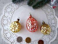 Vintage Glass Ornaments set Gold Pink Rare Soviet Xmas USSR 169