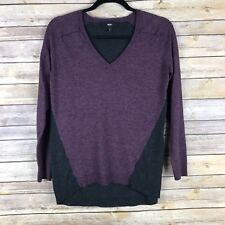 Mossimo Womens Sweater Soft Knit V Neck Pullover Color Block Hi Lo Hem Small