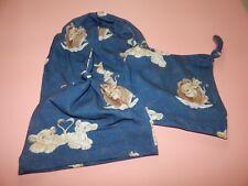 Knotenmützen+Beaniemützen  aus Jersey blau mit Löwen