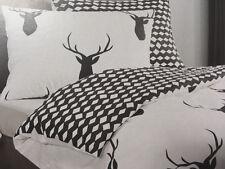 Bettwäsche 3 tlg. Feinbiber weiß, schwarz, Hirsch 200x220, Kissen  2x 70x90 cm