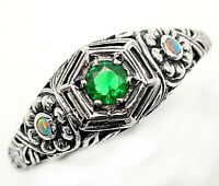 1CT Emerald Quartz & Opal 925 Sterling Silver Filigree Ring Jewelry Sz 6, SF7