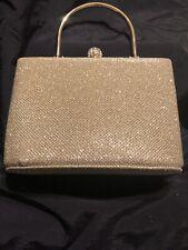 Small Mini Glitter Gold Handbag With Removable Chain