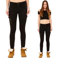 New Womens Slim Skinny Stretch Mid Rise Black Denim Cargo Combat Jeans