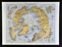 1881 Andrees World Map North Pole Arctic Ocean Russia Canada Alaska Iceland