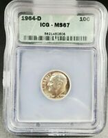 1964 D Roosevelt Silver Dime Coin ICG MS67 Gem BU Nice Little to no Toning