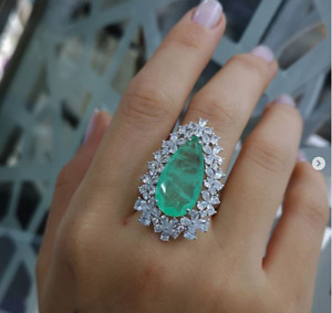 AAA QUALITY STERLING 925 SILVER JEWELRY ICE BLUE PARAIBA TOURMALINE LADY RING