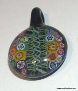 Beautiful Black Glass Millefiori Italy Flower Pendant Murano