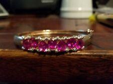 cuff bracelet gold tone pink pear cut stone