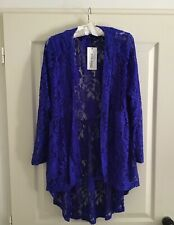 Royal Blue lace kimono Cover up shawl cardigan jacket women X Large