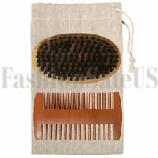 Pro Boar Bristle Beard Brush and Military Pear Wood Comb Set for Men Grooming