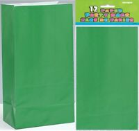 GREEN PAPER PARTY BAGS 26CM(H) X 14CM(W) PACK OF 12 BIRTHDAY PARTY SUPPLIES