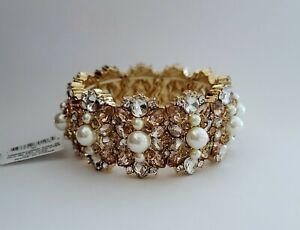 "Charter Club Imitation Pearl, Gold Pink Clear Crystal Stretch 8"" Bracelet $54.50"