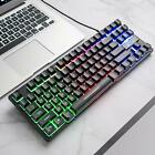 K16 Wired 87key Rainbow LED Backlit PC Gaming Keyboard Optical for PC Laptop Mac