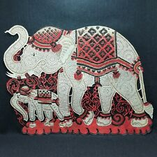 Vintage Thai Folk Art Buffalo Leather Craft Family Love A Gift Traditional Party