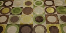 """CLARENCE HOUSE TURANDOT GREEN CIRCLE MODERN LINEN VELVET FABRIC BY THE YARD 52""""W"""