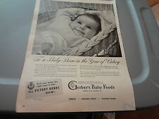 "1945 Gerber's Baby Food Vintage Magazine Ad ""To a Baby Born in the Year of..."""
