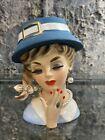 Vintage Enesco Lady Head Vase Pearl Necklace & Earrings, Ring, Blue Hat Ponytail